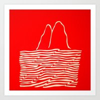 Red Waves Art Print