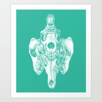 Around The Coyote - Teal Art Print