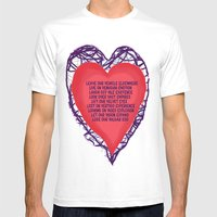 Heart Beat Mens Fitted Tee White SMALL