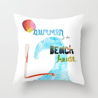 Summer at the Beach House Throw Pillow
