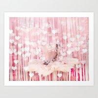 Paris Pink Ballerina Tutu With Hearts Art Print