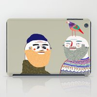 Friends and Bird. People illustration, funny, beard art, beard illustration, people,  iPad Case