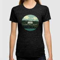 She Looks for Adventure  Womens Fitted Tee Tri-Black SMALL