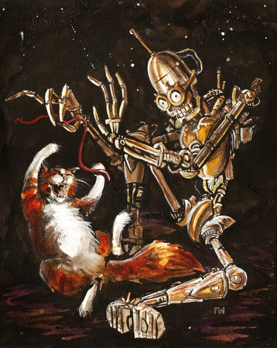 Robot and Cat in the Wild Art Print