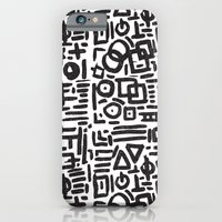 iPhone Cases featuring ABSTRACT 4 - BLACK & WHITE by Matthew Taylor Wilson