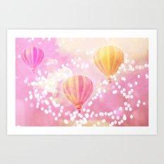 Carnival Hot Air Balloons Pink and Yellow Art Print