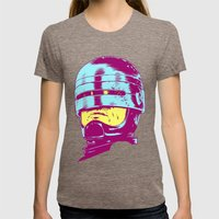 Robocop (neon) Womens Fitted Tee Tri-Coffee SMALL