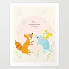 Raccoon & Armadillo Singing Art Print
