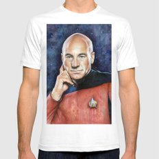 Captain Picard Mens Fitted Tee White SMALL