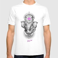 Ganesha Mens Fitted Tee White SMALL