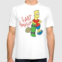 FART SIMPSON Mens Fitted Tee White SMALL