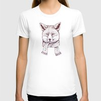 Fox And Scarf Womens Fitted Tee White SMALL