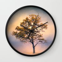 Pastel Skies Cotton Field Tree - Landscape Wall Clock
