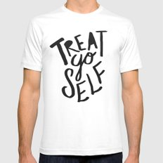 Treat Yo Self SMALL White Mens Fitted Tee
