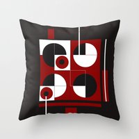Geometric/Red-White-Black  1 Throw Pillow