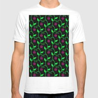 Pink Flowers And Green V… Mens Fitted Tee White SMALL