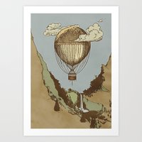 Around the world the incredible Steamballoon Art Print