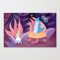 Alice In Wonderland and The Caterpillar Canvas Print