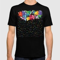 Rainbow raindrops Mens Fitted Tee Black SMALL