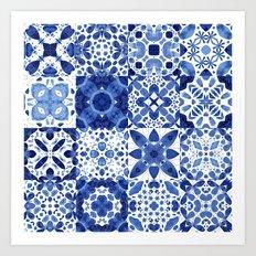 Indigo Watercolor Tiles Art Print