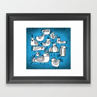 BIRDS IN BLUE Framed Art Print