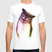 The Wise Mr. Owl Mens Fitted Tee White SMALL