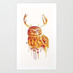 Owlope Stripped Art Print