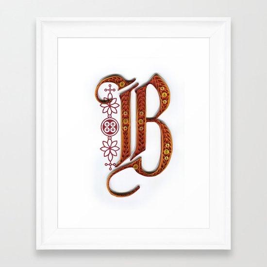 B - Monogram Framed Art Print