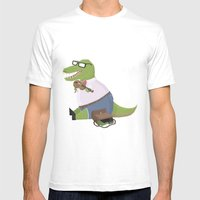 Hipster Dinosaur Jammin' on his Fiddle Mens Fitted Tee White SMALL