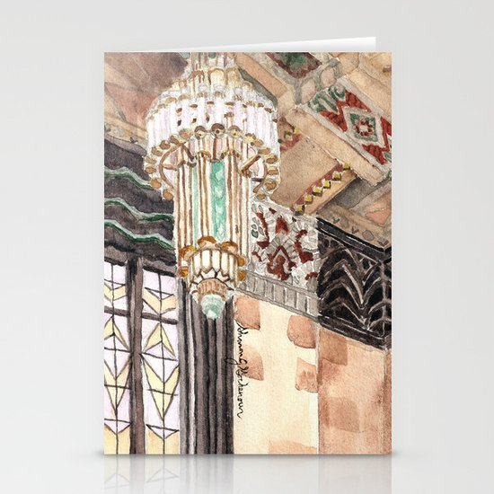 inside the Art Deco spaceship Stationery Card