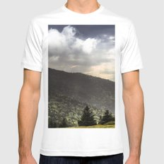 Mountain Sun Rays Mens Fitted Tee SMALL White