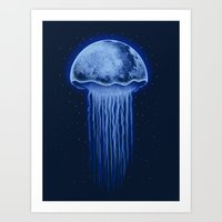 Moon Jellyfish Art Print
