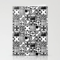 Black and White Abstract Squares Stationery Cards
