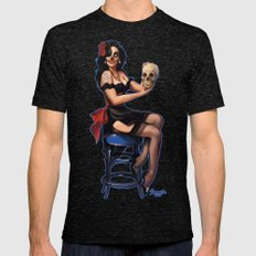 Zombie Sugar Skull Pinup Mens Fitted Tee Tri-Black SMALL