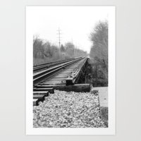 Railroad Tracks Black and White Photography Art Print