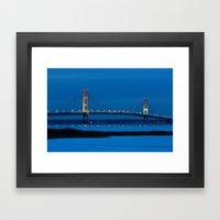 Mackinac Bridge At Blue … Framed Art Print