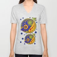 Unisex V-Neck featuring Tropical Fantasy Fish by Thea Walstra