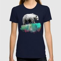Wild No. 1 // Bear Womens Fitted Tee Navy SMALL