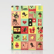 Stationery Cards featuring Christmas Geometric Patt… by Chobopop