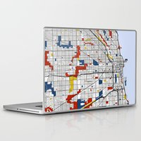 chicago Laptop & iPad Skins featuring Chicago by Mondrian Maps