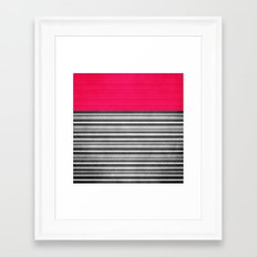 Pink Gray Stripes Framed Art Print