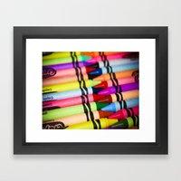 Rainbow of Crayons Framed Art Print