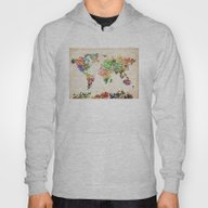 World Map Floral Hoody