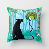 The Peacock and The Panther Throw Pillow