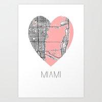 Miami Map Heart Shape Art Print
