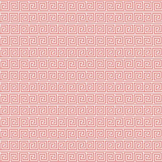 Coral Greek Key Pattern Art Print