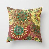 Yellow, Red & Green Boho Mandela Pattern Throw Pillow