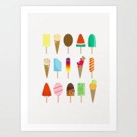 ice cream Art Prints featuring Ice Cream by Céline Dscps