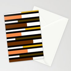 Brown, green, yellow & pink stripes Stationery Cards