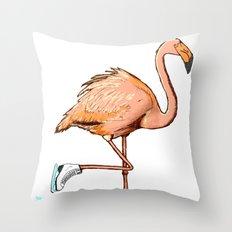 Flamingo on ice Throw Pillow